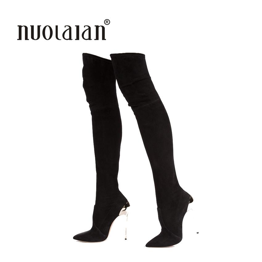 ade5a392eb3 Autumn Winter Women Stretch Faux Suede Slim Thigh High Boots Fashion Sexy  Over The Knee Boots High Heels Shoes Woman Ladies Boots Cheap Boots From  Jerry10