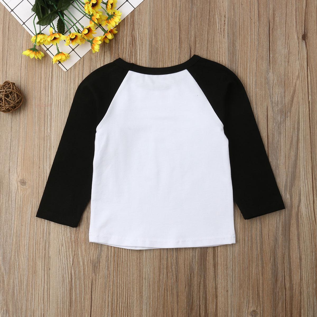 Pudcoco 6M-5Y New Mode Hauts confortables pour les enfants à manches longues automne printemps bébé lettre T-shirt pour enfants T-shirt imprimé