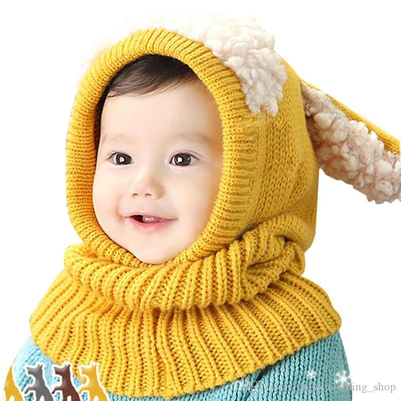3c8e78a4e8a6 Acheter Hot Nouvelle Arrivée Enfants Chapeaux D hiver Filles Garçons Enfants  Crochet Chapeaux Chauds Écharpe Ensemble Bébé Bonnet Enfant Cartton Mignon  ...