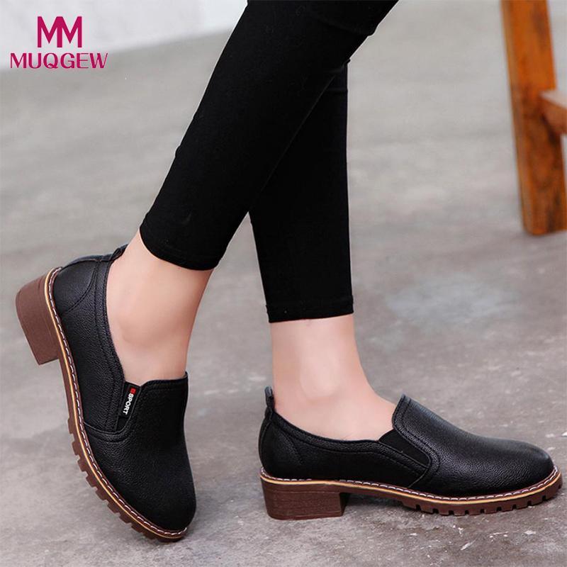36567ccf51 Compre 2019 Vestido Calçados Femininos Sapatos De Salto Alto Sapatos Casuais  Oxfords De Couro Das Mulheres Ankle Oxford Sapatos Casuais Botas Curtas  Slip On ...