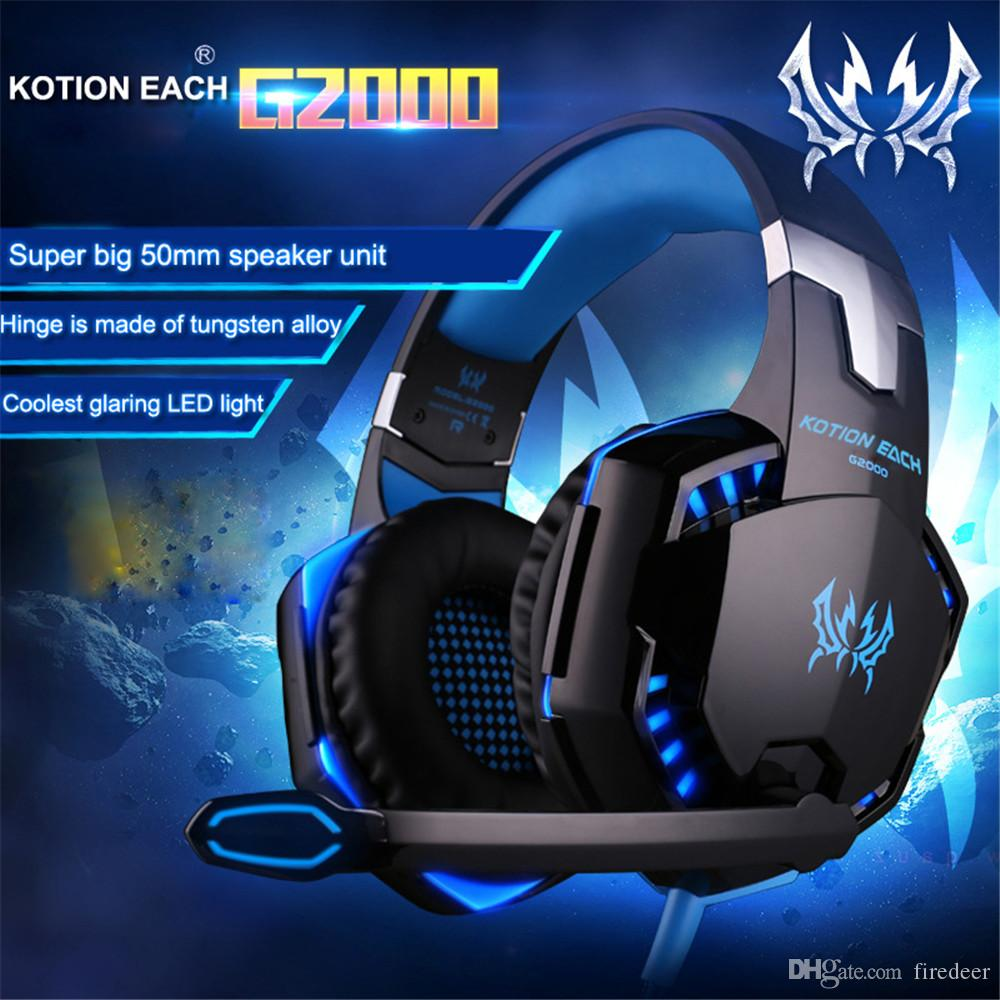 KOTION EACH G2000/G9000/G1000/G4000 Gaming Headsets Big Headphones with  Light Mic Stereo Earphones Deep Bass for PC Computer Gamer PS4