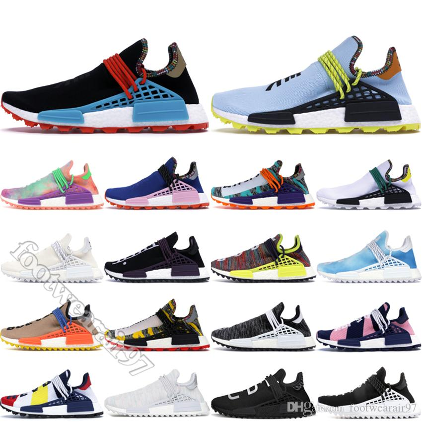2019 NMD Hu Pharrell Running Shoes Mens Womens Sneakers Human Race Designer Inspiration Pack Clear Sky Black NERD Homecoming Outdoor 36 45