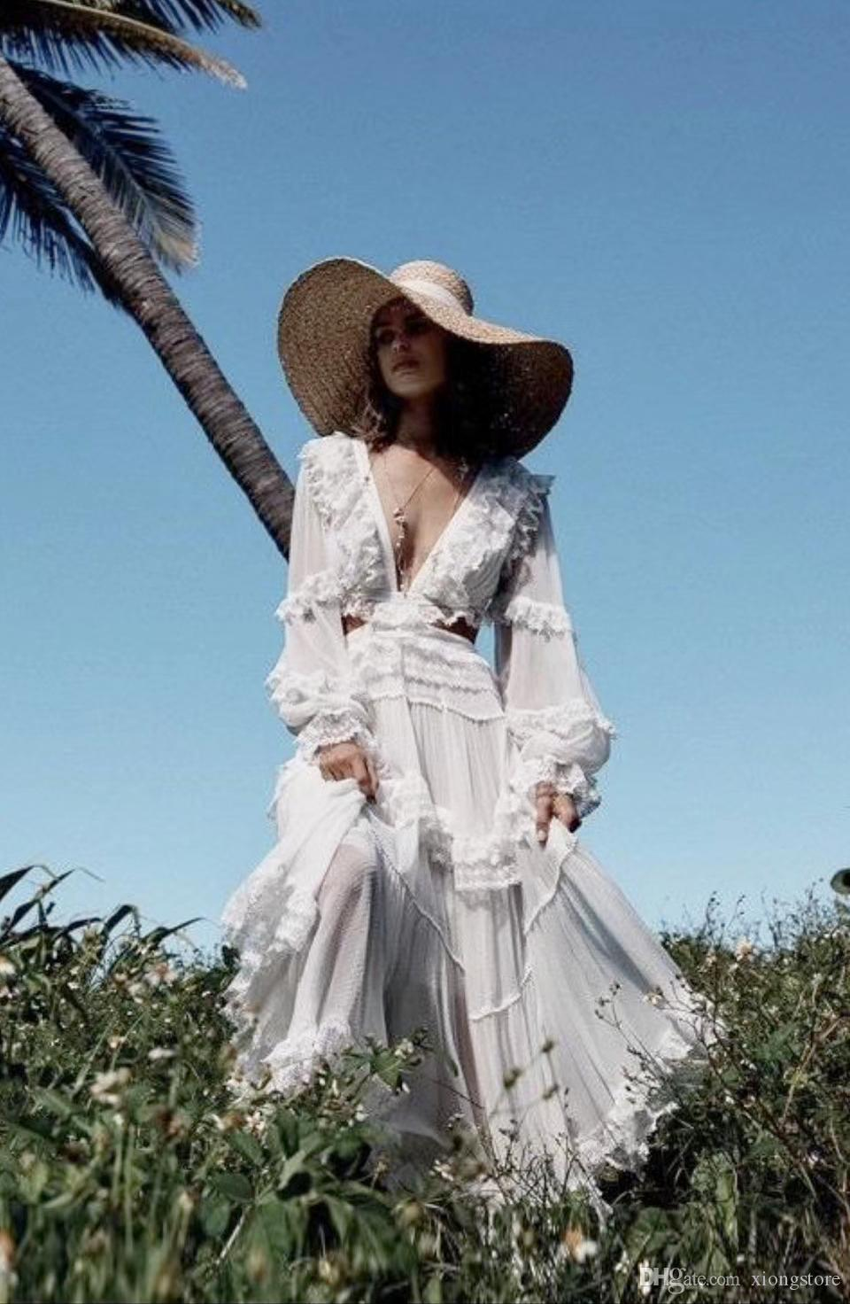 Elegant White Lace Patchwork Pleated Long Sleeve 2019 Women Dresses Summer Bohemian Ruffles Chiffon Maxi Dress Designer Runway Dress