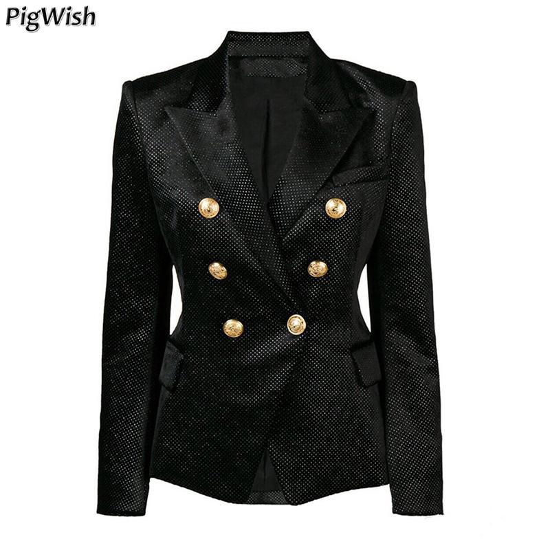51c007dcbf7 2019 Glitter Sequined Formal Jackets 2018 Designer Blazer Women S Lion  Metal Buttons Silver Shimmer Velvet Blazer Business Coat From Elizabethy