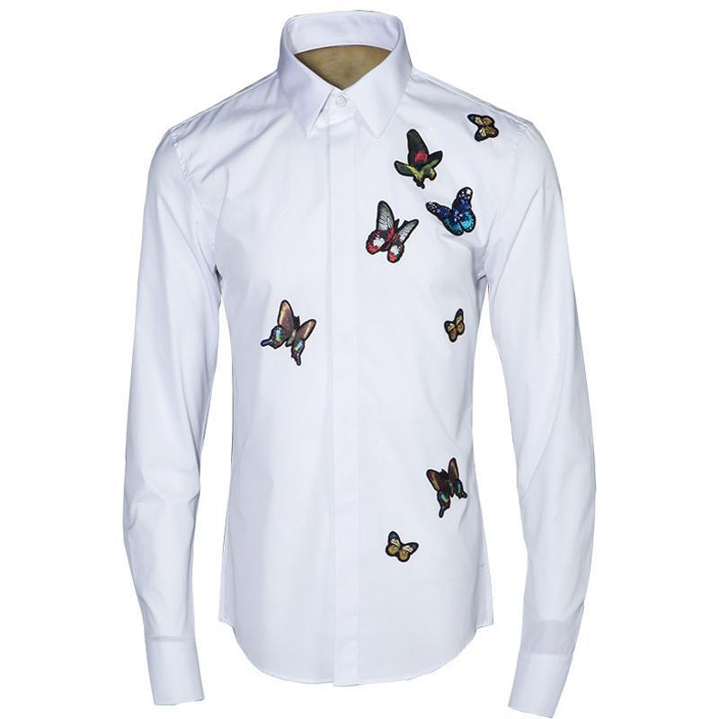 Elegant Butterfly Embroidery Men Shirt Long Sleeve Turn-down Collar Slim Casual Camisa Masculina 2019 Business Male Dress Shirts