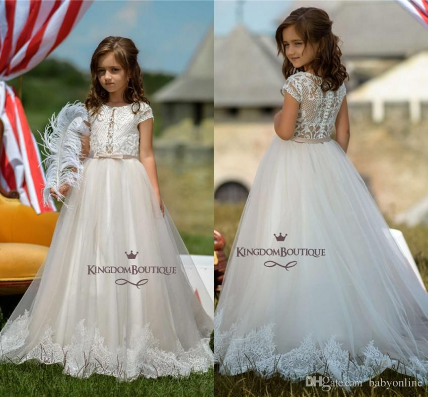 f2f5a77c160 Adorable Lace Tulle Flower Girl Dresses For Western Garden Weddings A Line  Princess Crew Neck Cap Sleeves Appliques Long Kids Formal Gowns Bridal  Flower ...