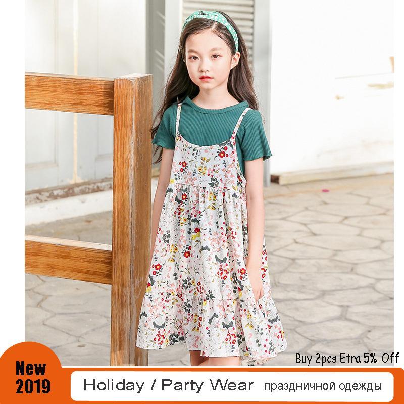 119da97f980 2019 Little Girls Dress Suits 4 5 6 8 10 Years Sweet Floral Print Chiffon  Sundress Summer Holiday Beach Wear Kids Clothes From Dejavui