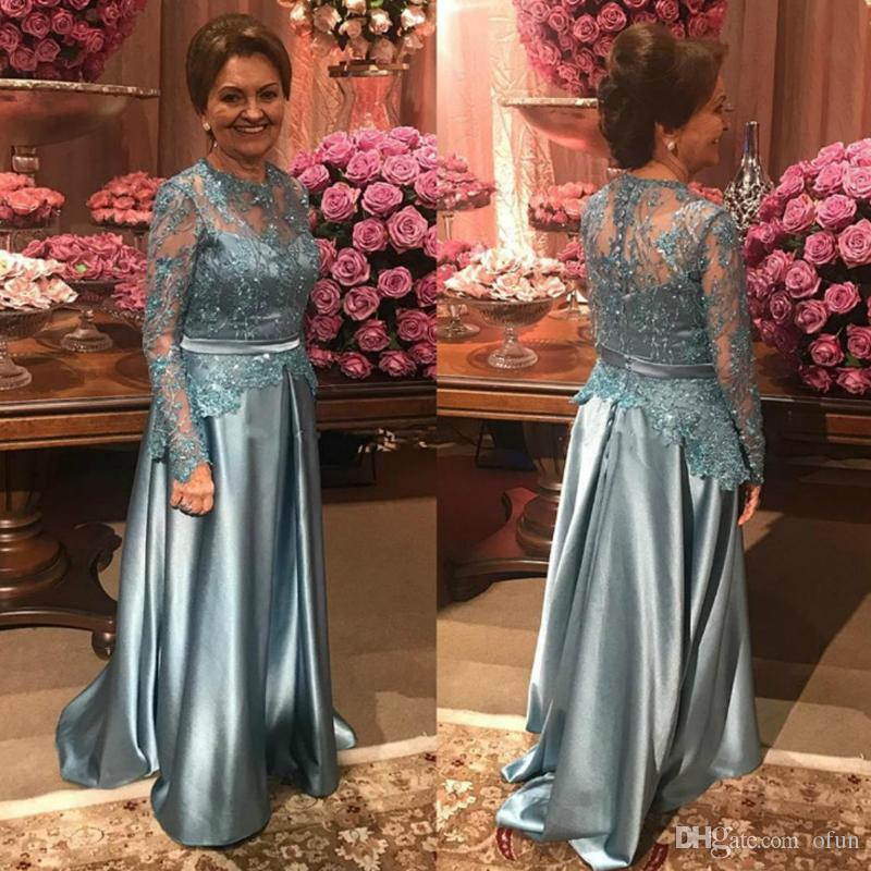 a308d99fb423 2019 Classic Mother Of The Bridal Dresses Lace Appliques Long Sleeve  Covered Button Mother Bride Dress Mother Of The Bride Duties Mother Of The  Bride Tea ...
