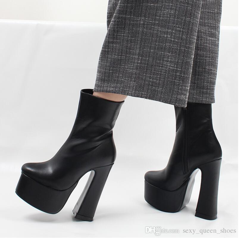 8eb5a021c74 Compre Botas De Plataforma Para Mujer Gótico Atractivo 15 Cm Bloque Alto  Tacones Cortos Botines Tacón Cuadrado Grueso Punta Puntiaguda Punky Zapatos  De ...