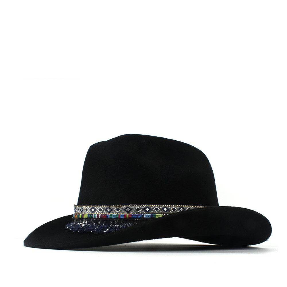 100% Wool Women Men Wool Tassel Western Cowboy Hat Gentleman Dad Black  Outback Sombrero Hombre Montana Hat 57-59CM