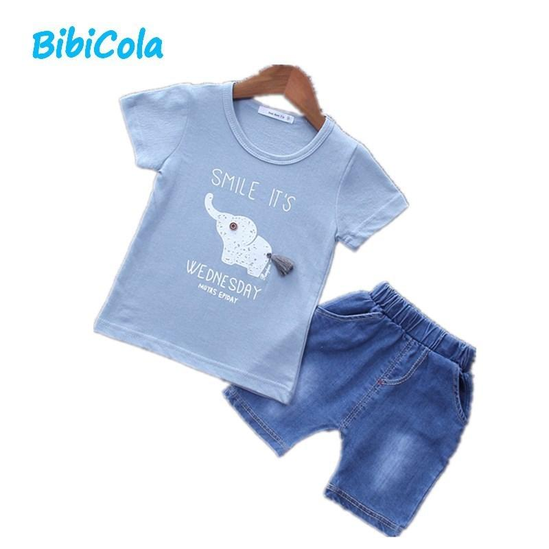 1b5f99042 Compre Ropa De Verano Para Bebés Varones Set Toddle Niños 2 Unids Top  Camisa Pantalones Cortos De Mezclilla Ropa Trajes De Moda Infantil Bebe Ropa  Casual ...