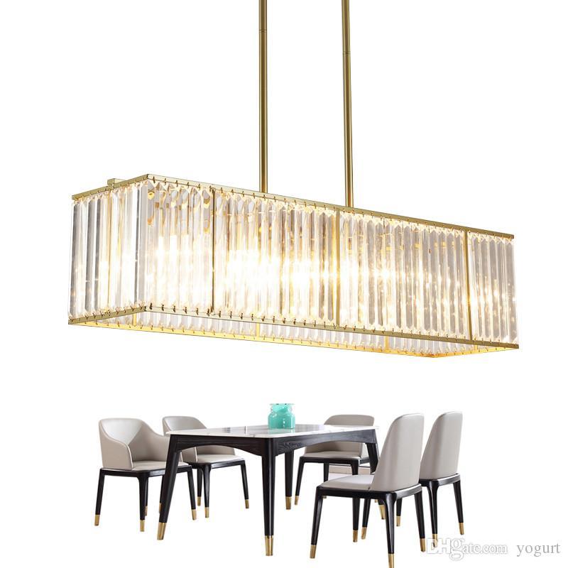 Sala da pranzo moderna del candeliere di cristallo moderno che appende l  illuminazione Cristal dell isola di cristallo di rettangolo chiaro di ...