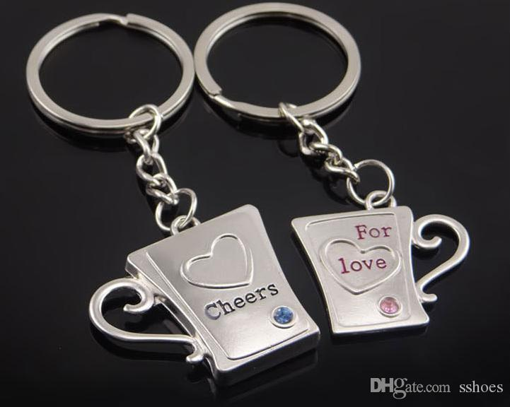 2018 New Alloy Heart Lovers Keychain Cup Shape Key Chains Wedding Gifts Cheer For Love Keychains with Crystal