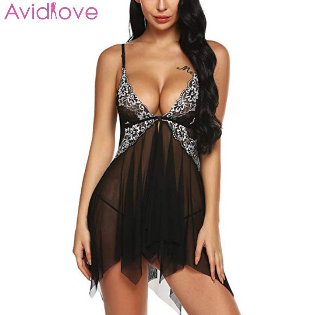 73bc53935 Compre Avidlove Babydoll Sexy Lingerie Sleepwear Corda Com Baixo Mulheres  Vestido Frontal Gancho Sexy Hot Cintura Erótico Em Casa G Sono Dress De ...