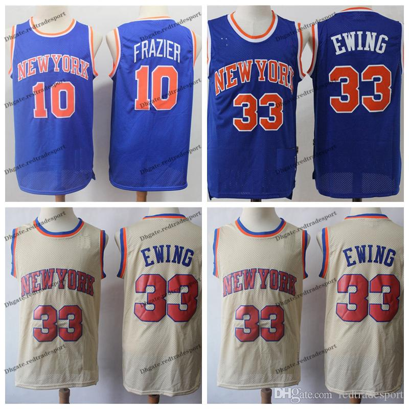 outlet store 817bc 8672f Vintage Mens New York Patrick Ewing Knicks Blue Walt Frazier 10 1996  Classic Gold Basketball Jerseys Patrick Ewing 33 Stitched Shirt S-XXL