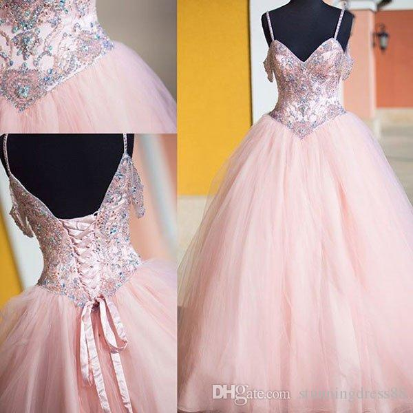 Elegant Blush Pink Cold shoulder Quinceanera Prom Dresses Glitter Crystal Rhinestones Beaded Long Sweet 16 Dress Vestidos 15 Anos