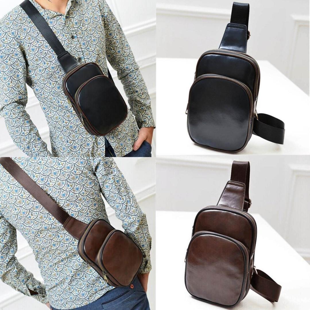 fcbc2fc0e0dc1c Vintage Leather Crossbody Bag Men Chest Pack Waist Bag Mens ...
