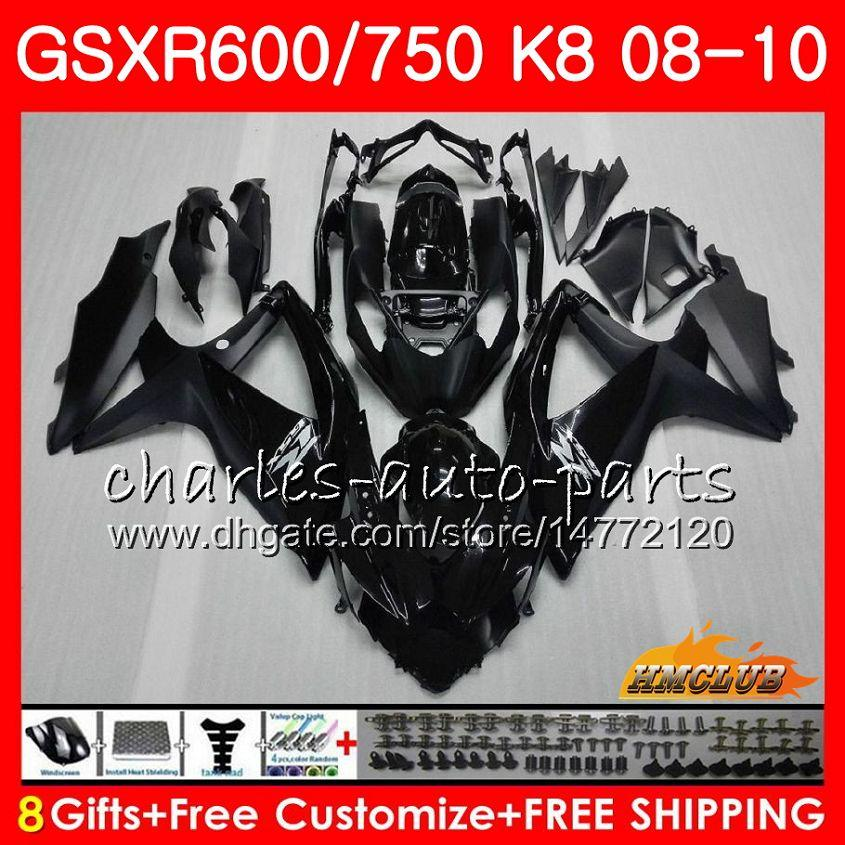 Bodys glossy black hot For SUZUKI GSXR 600 750 GSX R750 R600 GSXR600 08 09 10 9HC.1 GSX-R750 GSXR-600 K8 GSXR750 2008 2009 2010 Fairing kit