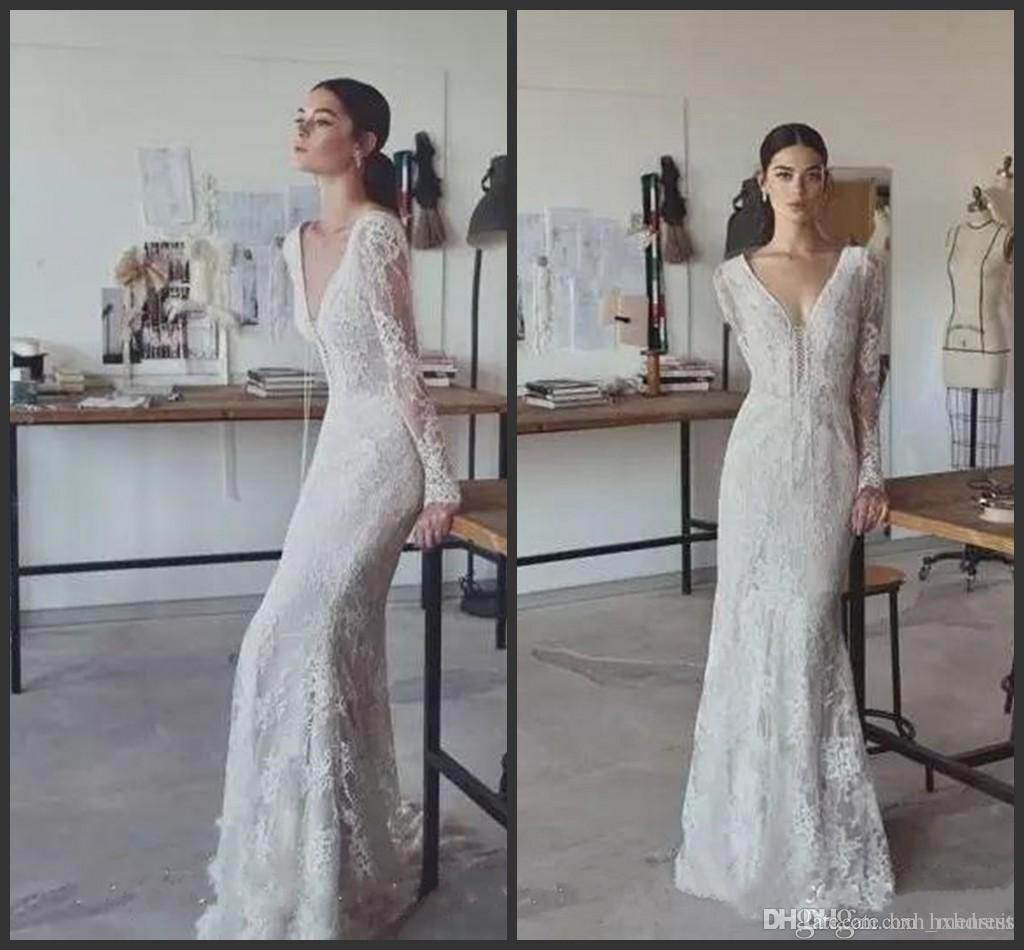 2019 Lihi Hod Vintage Wedding Dresses Full Lace V Neck Long Sleeves Bridal Gowns Plus Size Floor Length Custom Modest Cheap Wedding Dress