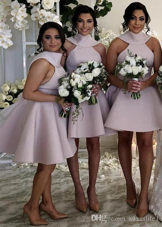 2019 Blush Pink Short Mini Style Bridesmaid Dresses Back Cover Bow Halter Neck Satin Maid Of Honor Wedding Guest Gown Custom Hot Sale