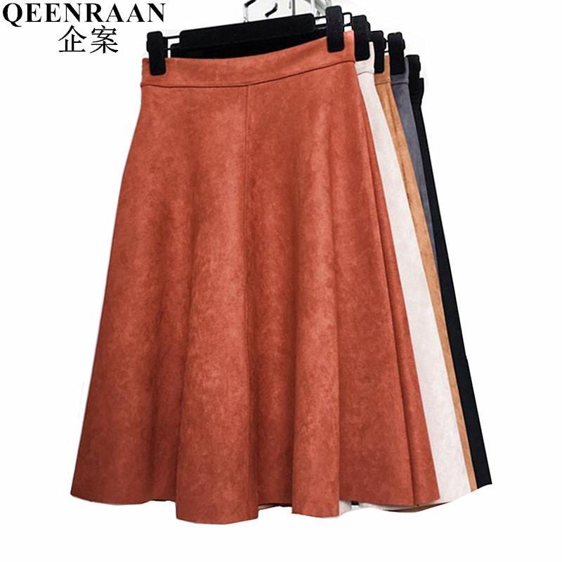 cba228b18493e 2018 New Spring Autumn Leather Suede Skirt Women High Waist Pleated Skirts  Faldas Saia Fashion Female Knee-length Skirt Jupe J190420