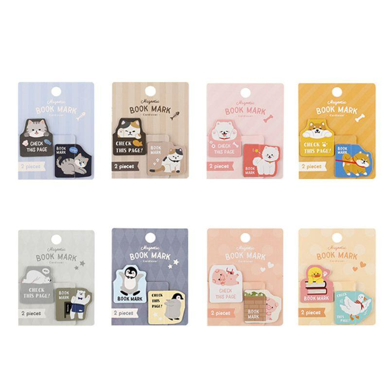 Letter Lover Magnetic Bookmark Probe Small Animal Series Creative Fresh Student Gift Cute Metal Gift Cartoon Bookmark Page Clip