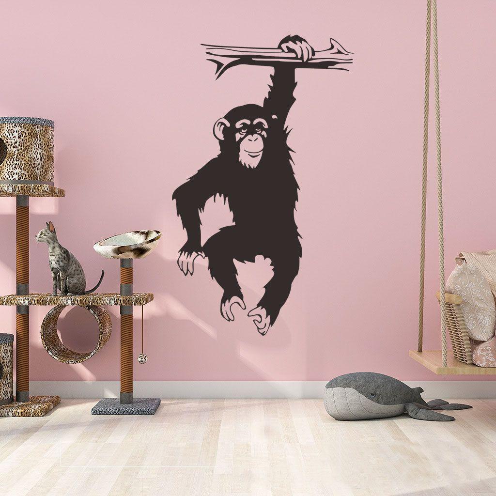 Autocollant La Muraux Vinyle Mignon Enfants Noir Singe Des L'arbre Mural Dans Stickers Chambre Gorilles En Pour PkTwXZiOu