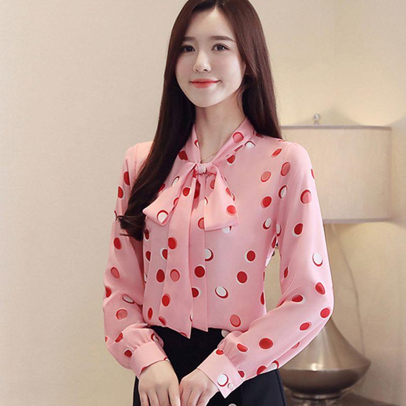 e9e23f71af71 Blusas para mujer Primavera 2019 Nuevo lazo con lazo Moda Rosa Gasa de  manga larga Damas Tops Elegante puntos impresos Blusa