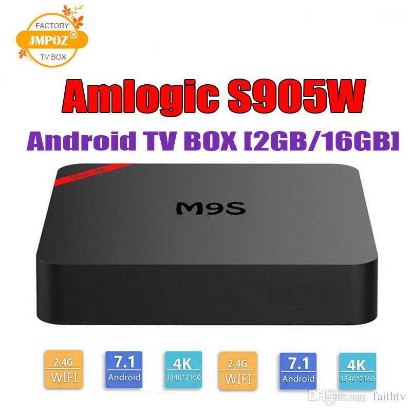 M9S MINI S905W Android TV Box 2 GB 16 GB Quad Core 100 M Lan 2.4G WiFi 4K VP9 HDR10 IPTV Android 7.1 Smart media player Migliore S8 PRO TX6
