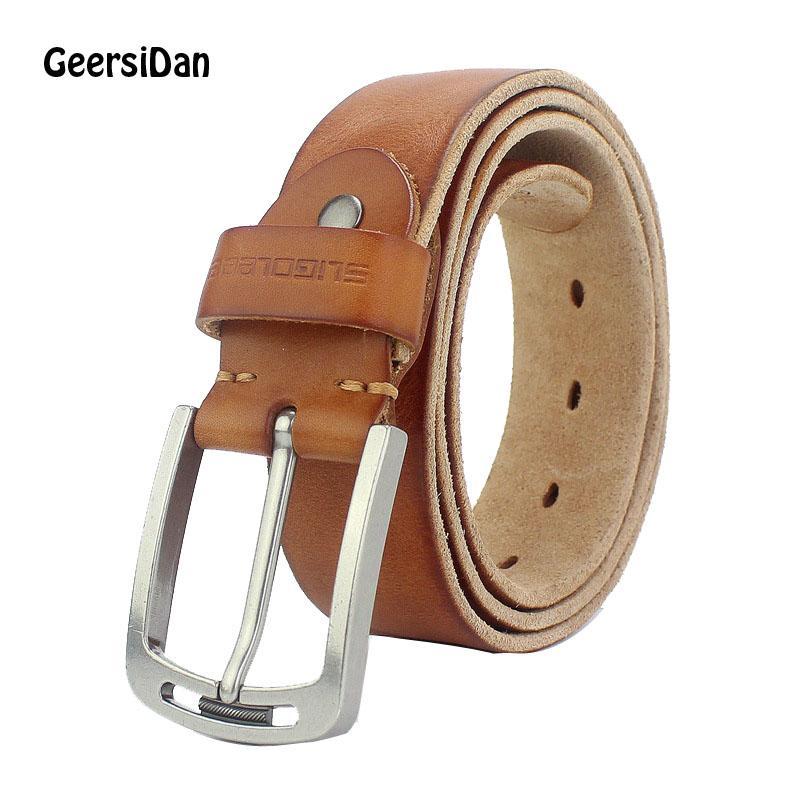Compre 2018 Nuevo Diseñador De Cinturón Para Hombres De Lujo De Alta  Calidad 100% De Piel De Vaca Real De Grano Completo Cuero Genuino Vaquero  Negro 3.8 Cm ... 3f87c202b4d6