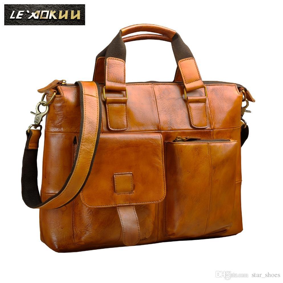 c41e5707ce706 Großhandel Männer Qualität Leder Antik Designer Business Aktentasche Lässig  14 Laptop Reisetasche Fall Attache Umhängetasche Portfolio B260l   645081  Von ...