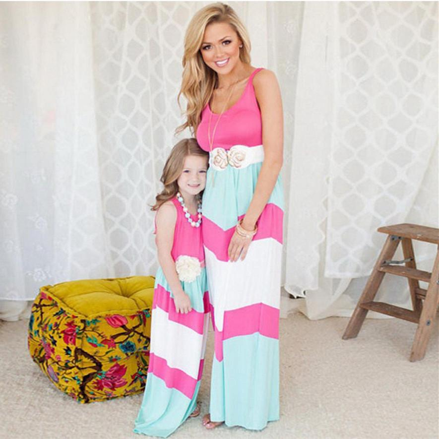 2019 Summer Matching Mother Daughter Dresses Clothes Long Maxi Dress Family Look Mommy And Me Clothes Mom And Daughter Dress Y19051103
