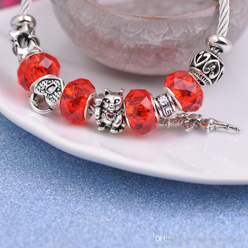 6pcs Stainless Steel Wire Bracelets Fit Pandora Red Faceted Murano Glass Beads Women Silver Angel Key Pendant Bangle Cat Heart Jewelry P147