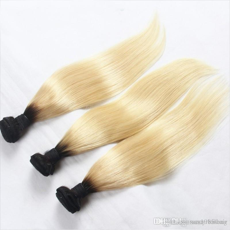 Elibess T1B 613 Raw Indian Straight Hair Bundles Blonde Human Ombre Hair Extensions Dark Roots 3PCS OR 4PCS Lot Remy Hair Weave Promotion
