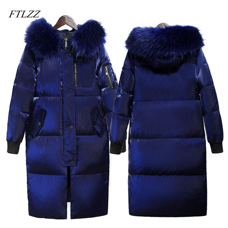9f9cf101b FTLZZ Winter Long Down Jacket Women Big Fur Collar Hooded White Duck ...
