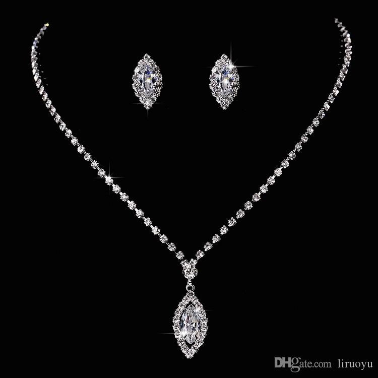 ecb833e4b Water Drop Style Necklace Pendant Earring Suit Inlaid Austria Crystal  Earring Use Swarovski Elements Twinkle Bridal Necklace Party Sets From  Liruoyu, ...
