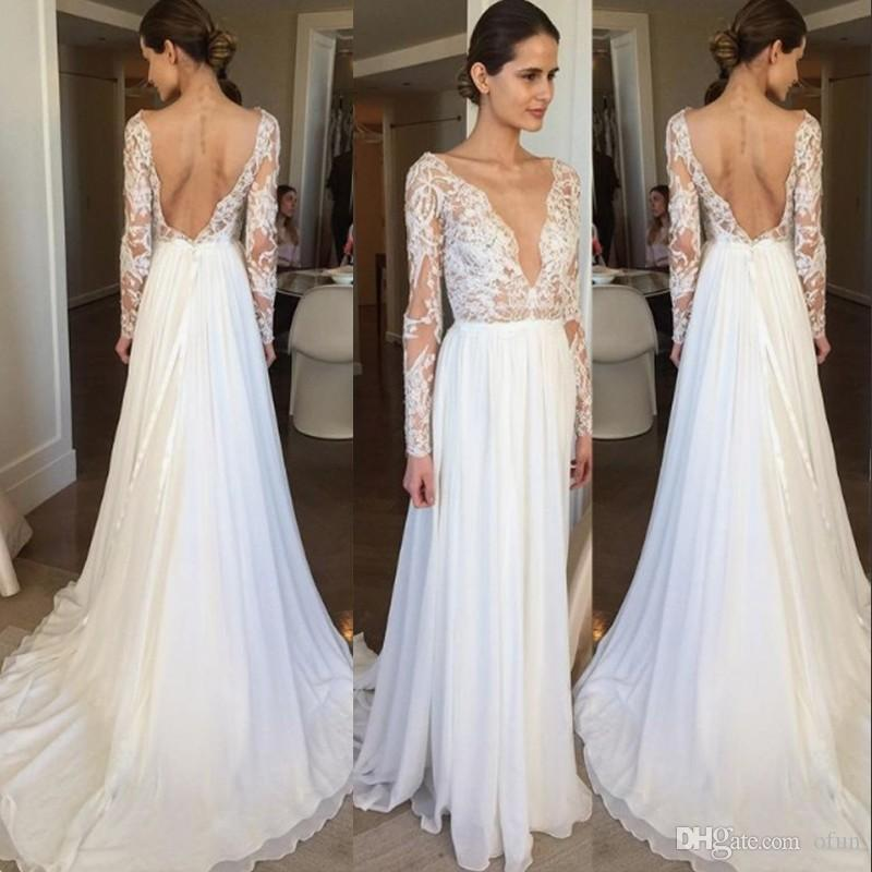 f51f9094bb0 Discount 2019 A Line Sexy Deep V Neck Backless Chiffon Beach Wedding Dress  Lace Long Sleeves Boho Bridal Gown Sexy Wedding Dresses Wedding Gown From  Ofun