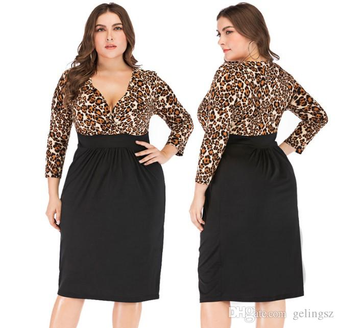 adaa35fa4e5 Plus Size Dresses Sexy Club Dress 2019 Women Midi Vestido Leopard T ...