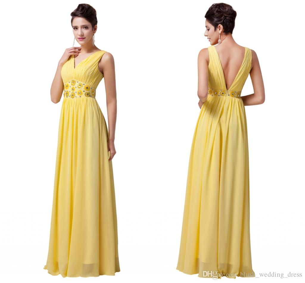 8becacdf387a Cheap Custom Made Plus Size Yellow Evening Dresses Long V Neck Prom Gowns  Formal Dresses Dinner Party Robe De Soiree DH1376 Red Evening Dress Shop  Dresses ...