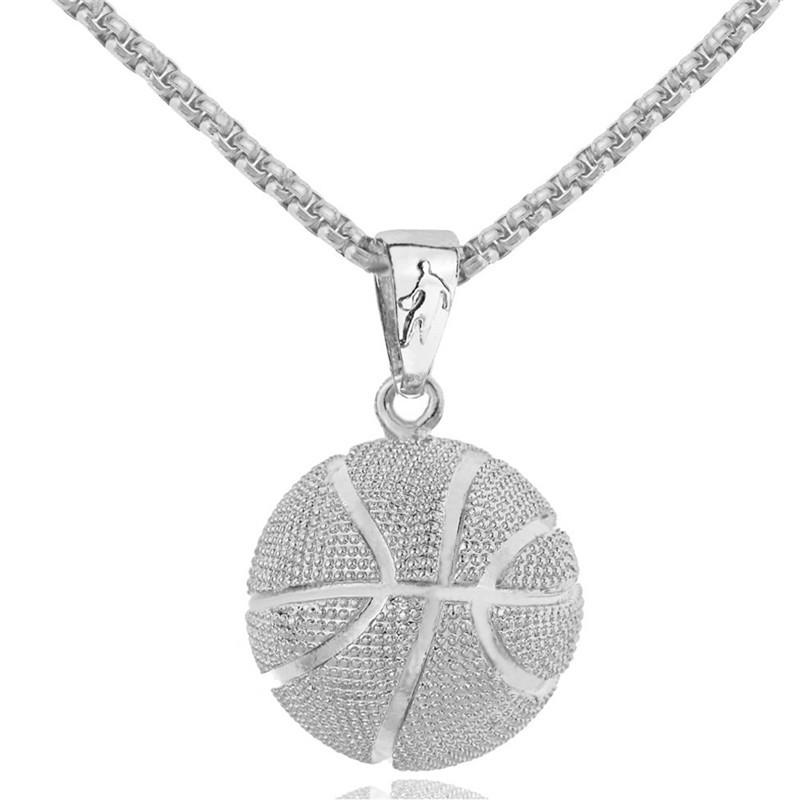 Basketball Pendant Europe and America Stainless Steel Necklace Creative Hot Sale Jewelry Sport Pendant Jewelry Free Shipping