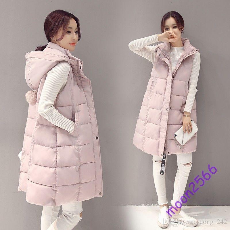 11a29682a26d Women Winter Long Cotton Down Vest Korea Fashion Waistcoat Hooded ...