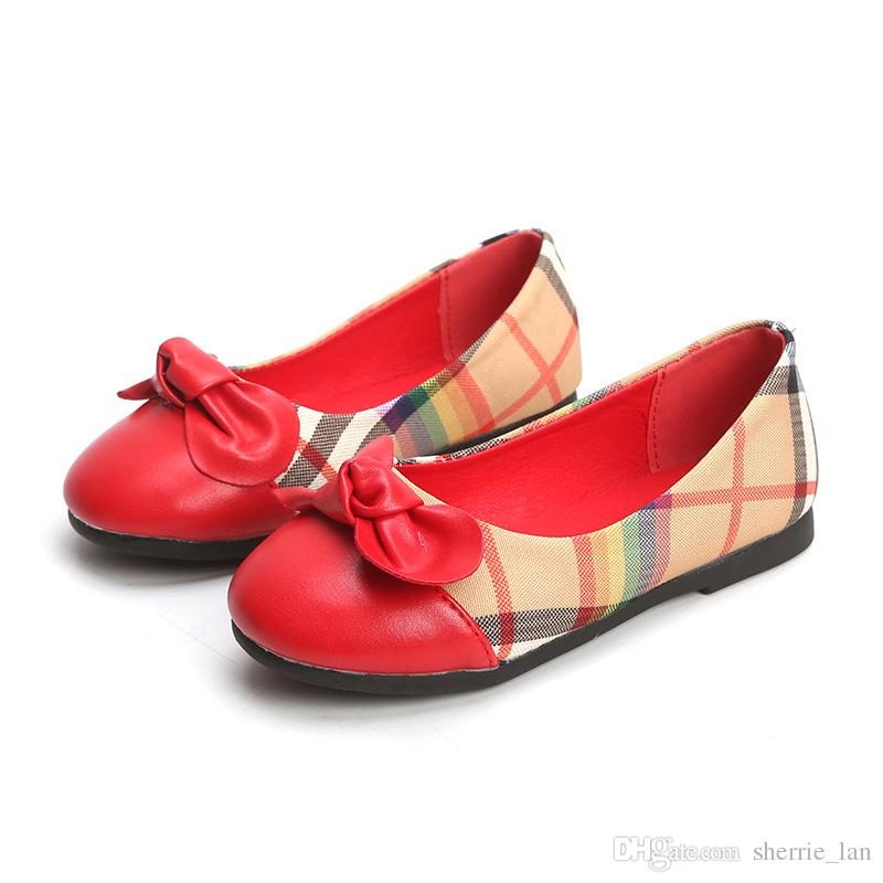 Little girl fashion bow children's dance shoes red low-heeled girls leather shoes black kids single shoes