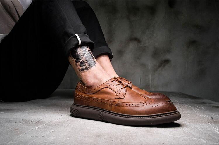 huge discount new men/man Genuine Leather Men's Dress Shoes Formal Business Soft Sole Carved Brogues  Lace Up Summer Breathable Vintage Derby Shoes