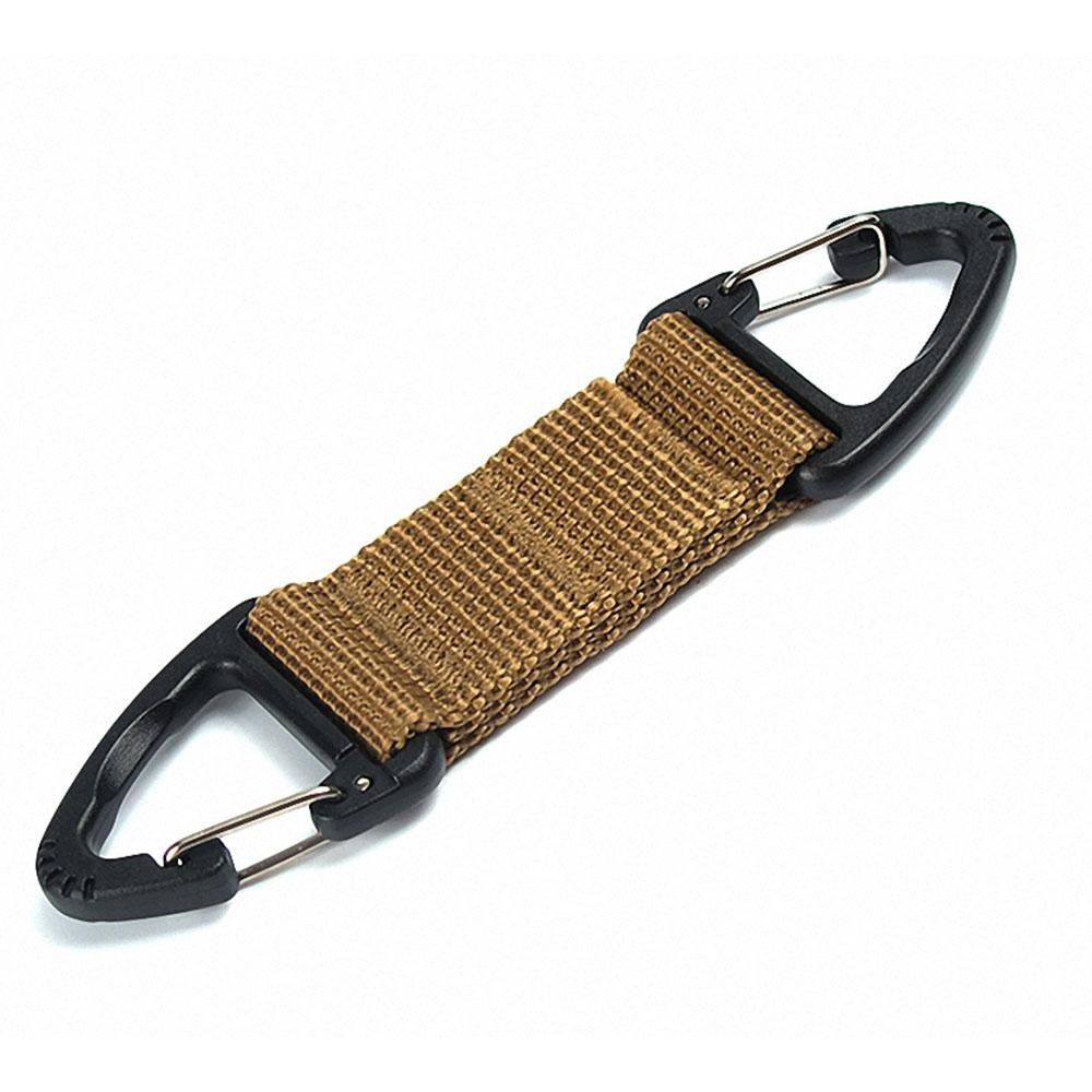 2pcs Tactical MOLLE Webbing Triangular Carabiner Clip Keychain Black