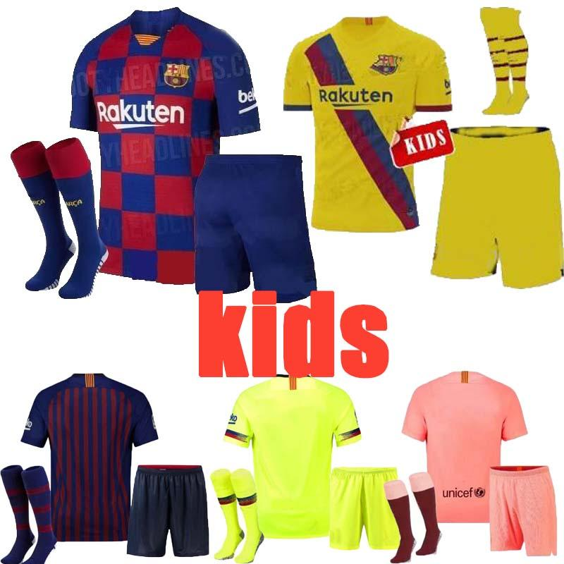 pretty nice 35e08 004d0 10 Messi kids kit socks Barcelona soccer jersey child 22 VIDAL 9 SUAREZ 14  MALCOM 23 MUTITI Maillot De Football Uniforms Shirts 7 COUTINH