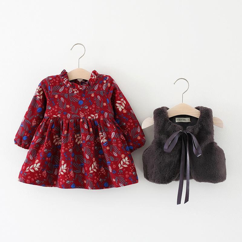 036009a4a3ca9 Winter Baby Infants Girls Kids Children Faux Fur Fleece Waistcoat Vest  vintage Princess Long Sleeve Dress Vestido Clothes Set Y190516