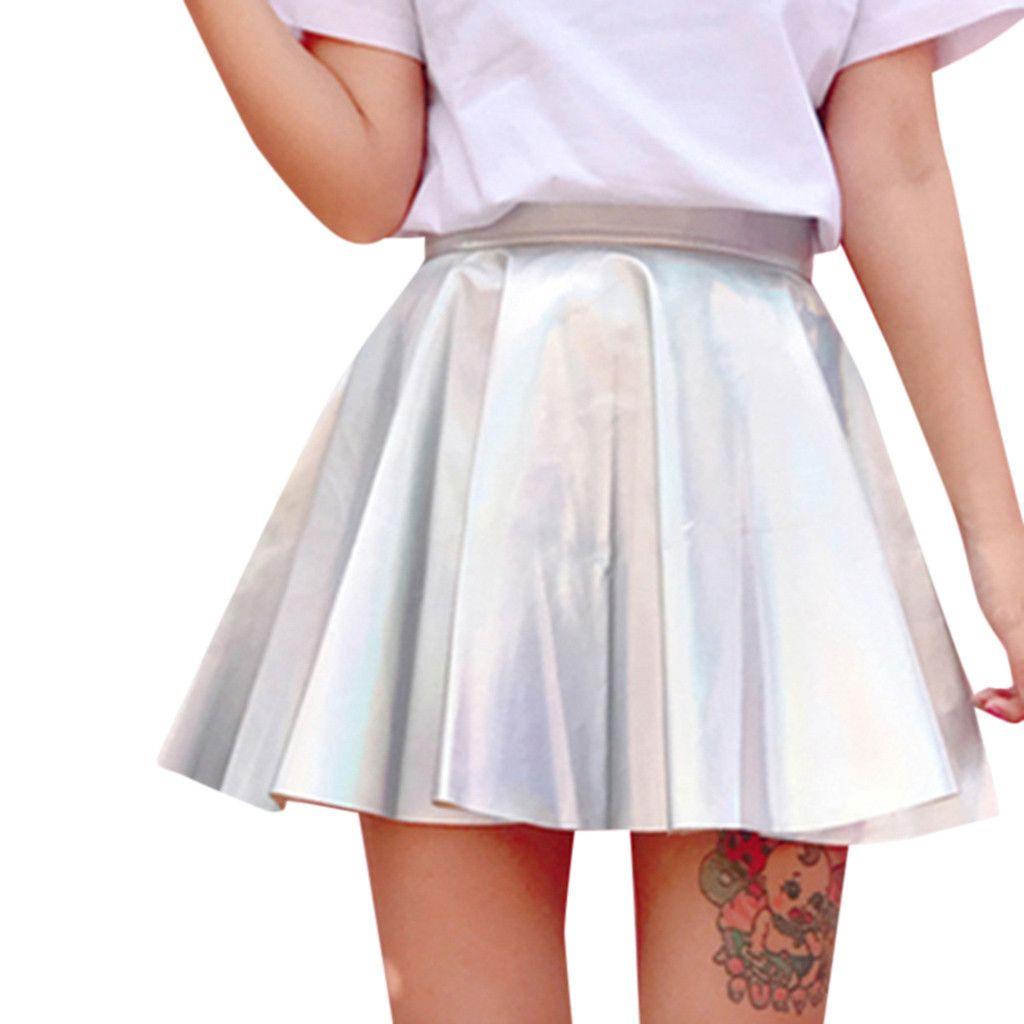 e9f2b427f Sexy MINI Falda de Verano Mujeres Sólido Holográfico Faldas Plisadas Sexy  de Cintura Alta Mini Faldas Cortas Estilo Harajuku INS Para Estudiante # G