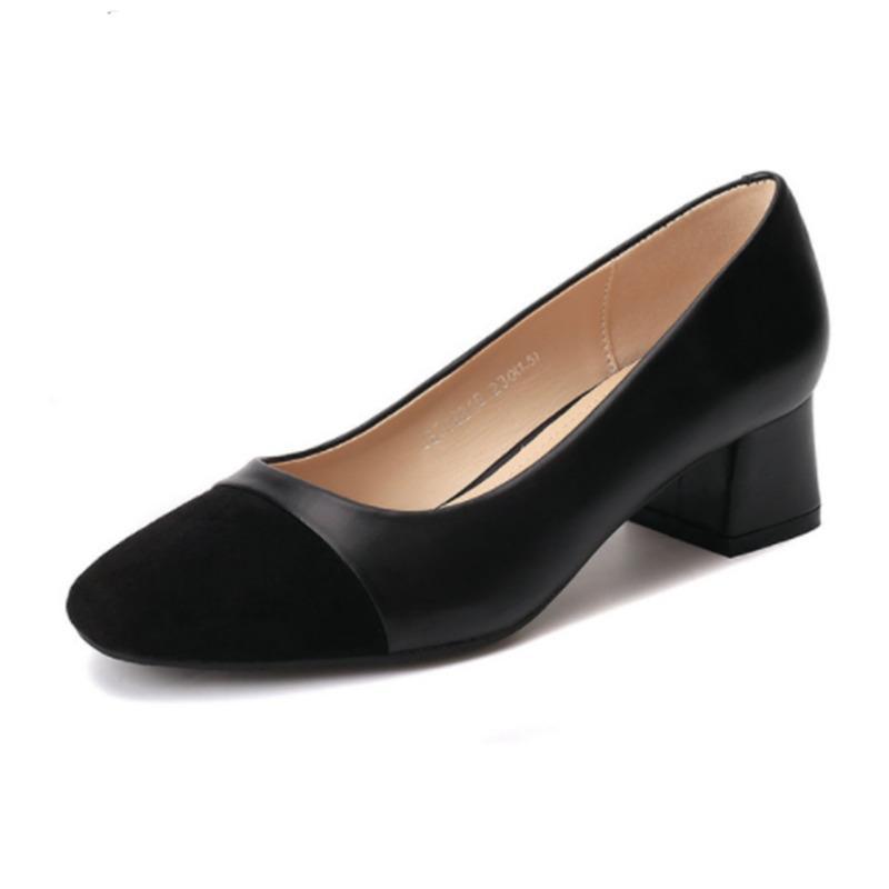 afda012ce282 Designer Dress Shoes 2019 New Spring Women S Square Toe Pumps Vintage  Leisure Non Slip Flock   Pu Woman High Heels Office Ladies Shoe For Heels  Shoes Online ...
