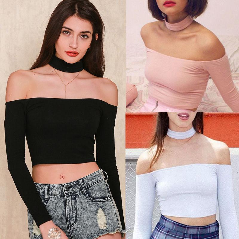 295c76915963b Choker Crop Top Bustier Off Shoulder Top Long Sleeve T Shirt Women  CroppedNeck Top For Women Strappy Tee T Shirt Printing Shirts From  Yeezus988