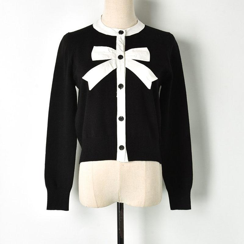 Compre Dulce Cardigan Hembra Negro Color Blanco Bloque Arco Patchwork O  Cuello Un Solo Pecho De Punto Suéter Mujeres Jumper Lindo A  37.32 Del  Masue ... f881ab1b8ee5